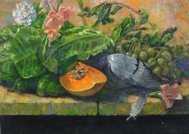 胡文賢 花果與獵物 1994 32.5x46cm(8P)油彩畫布 阿波羅畫廊